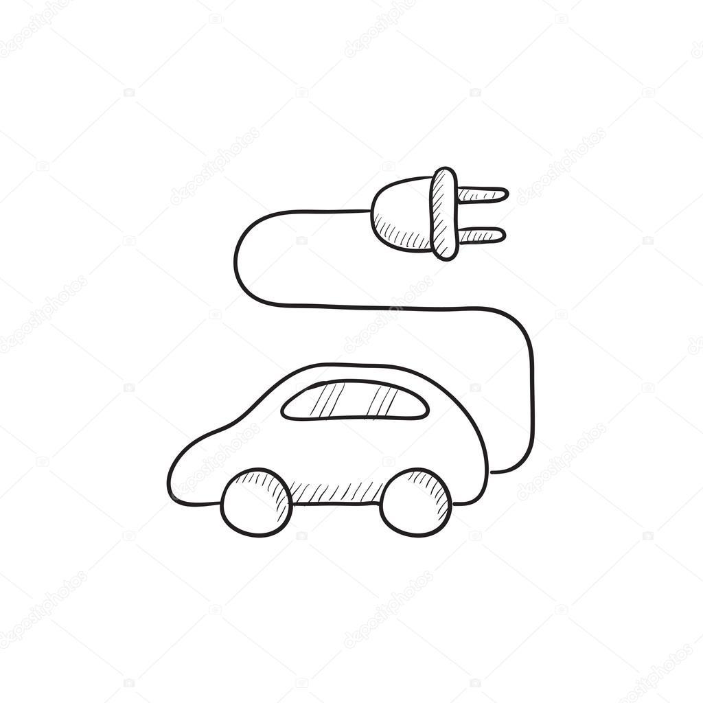 Elektroauto-Skizze-Symbol — Stockvektor © rastudio #112207500
