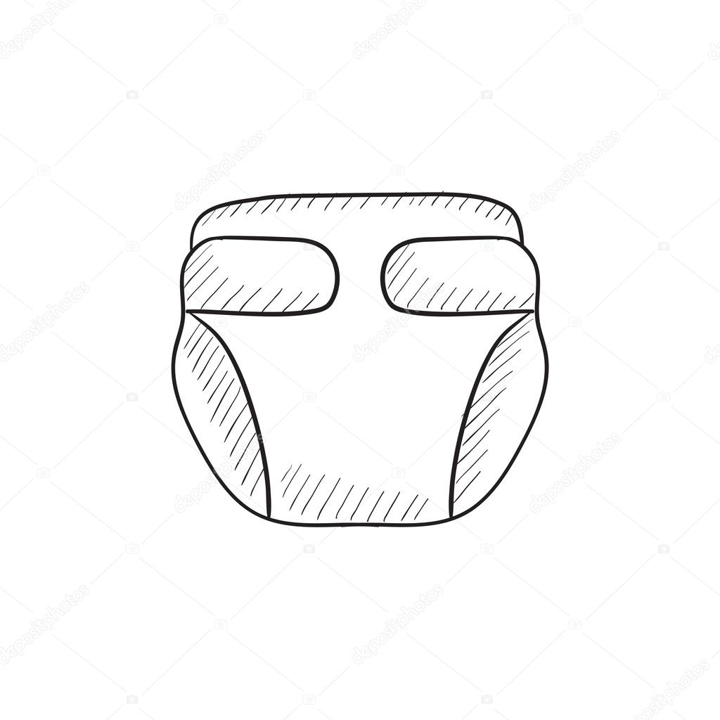 Baby Diaper Sketch Icon