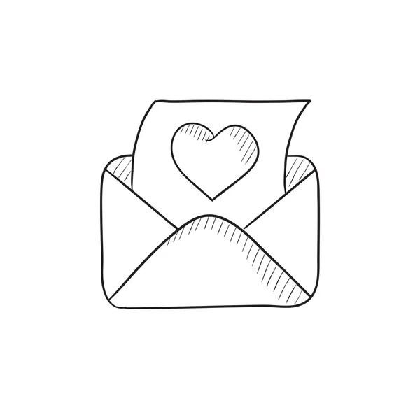 Correio do envelope com o ícone de desenho de coração