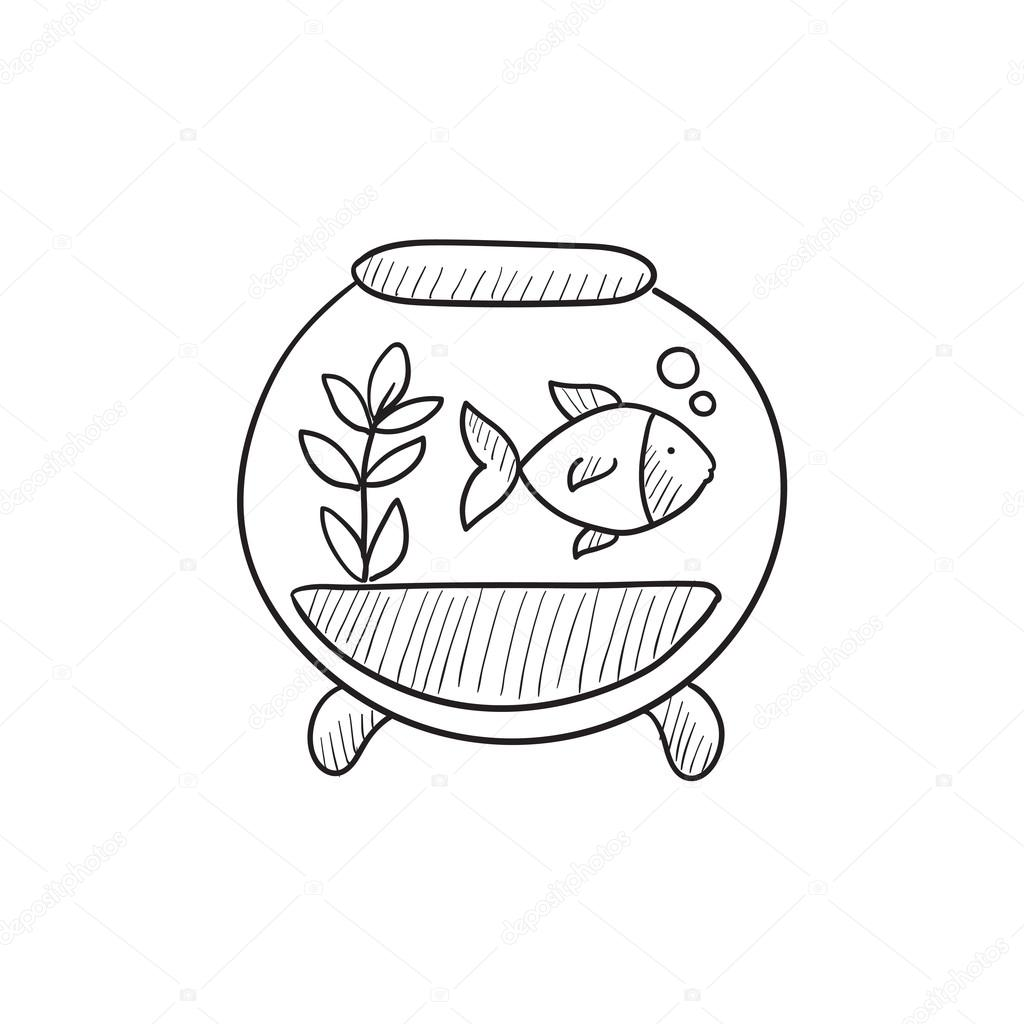 Fish In Aquarium Sketch Icon