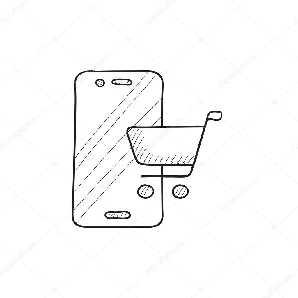 sketch diagram online 1998 dodge ram 2500 stereo wiring shopping icon stock vector c rastudio 112225460