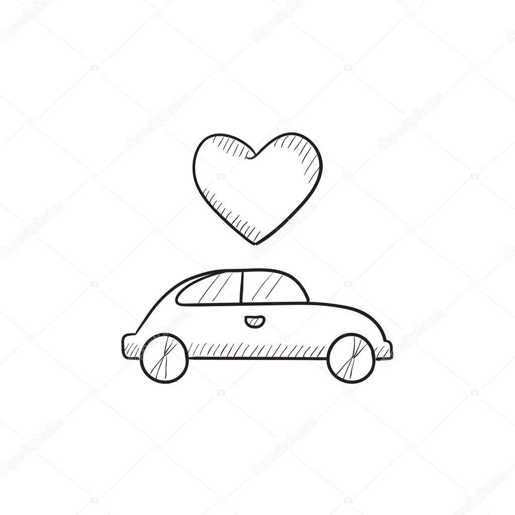 Hochzeitsauto mit HerzSkizzeSymbol  Stockvektor