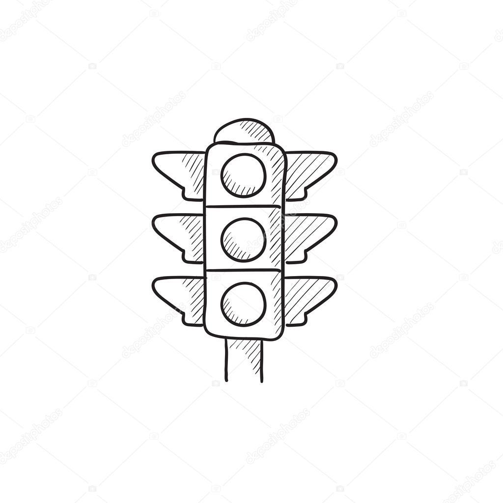 Traffic Light Sketch Icon