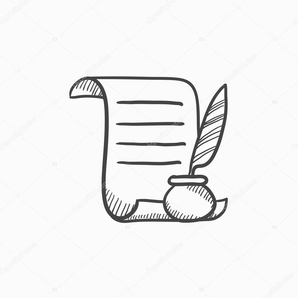Paper Scroll With Feather Pen Sketch Icon