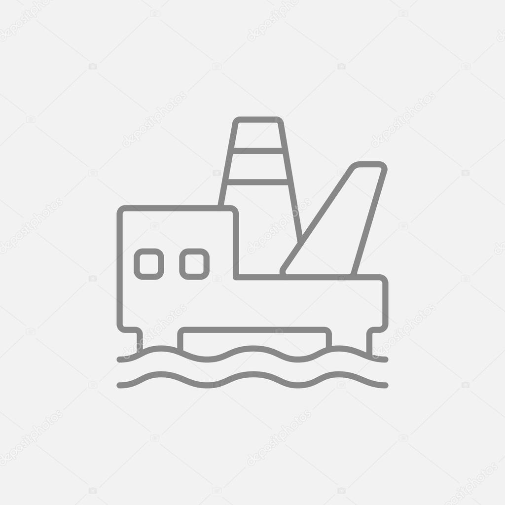 Offshore oil platform line icon. — Stock Vector © rastudio
