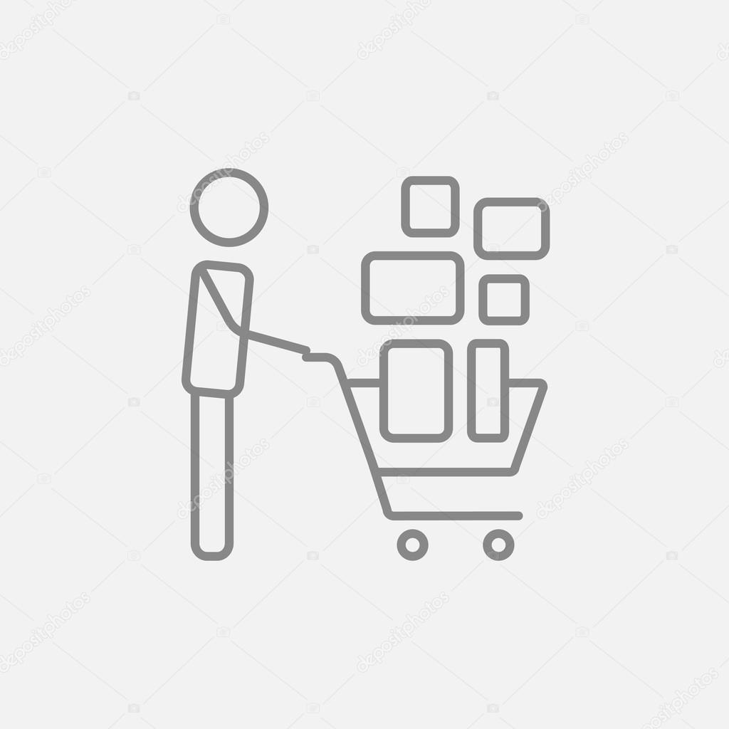 Man pushing shopping cart line icon. — Stock Vector