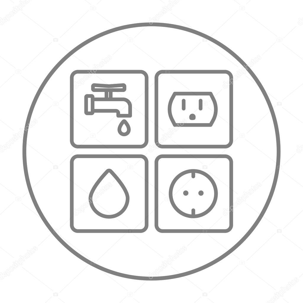 Strom Und Wasser Linie Symbol Zeichen Utilities