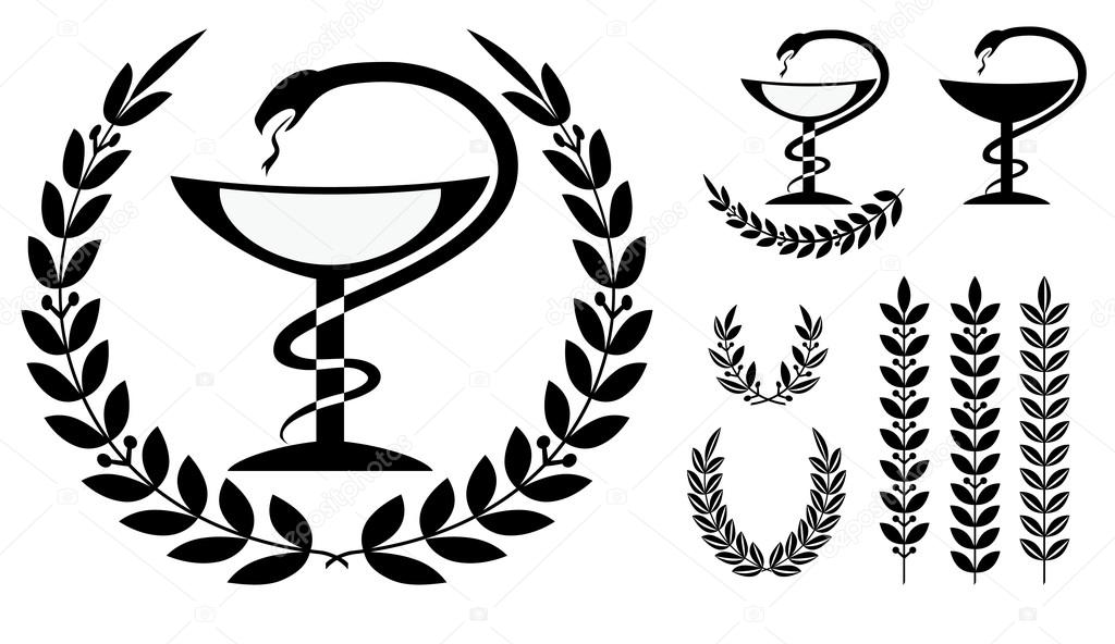 Pharmacy symbol medical snake and cup — Stock Vector