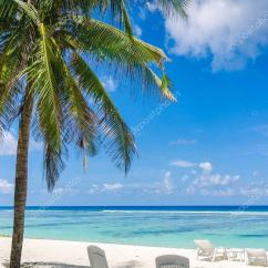 Perfect Beach Chairs Wicker Living Room Two On Tropical White Sand In Maldives Stock Photo