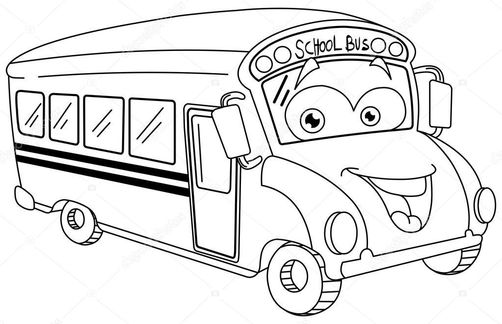 Outlined school bus cartoon — Stock Vector © yayayoyo