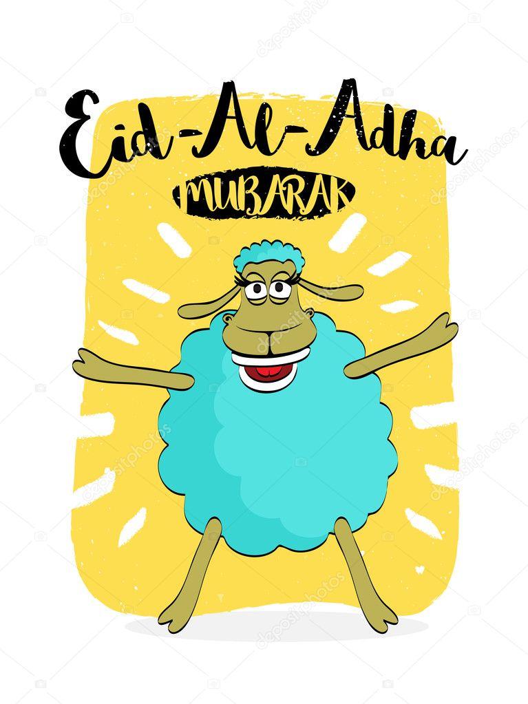 Eid Ul Adha Funny Greeting Cards : funny, greeting, cards, Funny, Sheep, Eid-Al-Adha, Celebration., Stock, Vector, Alliesinteract, #121070582