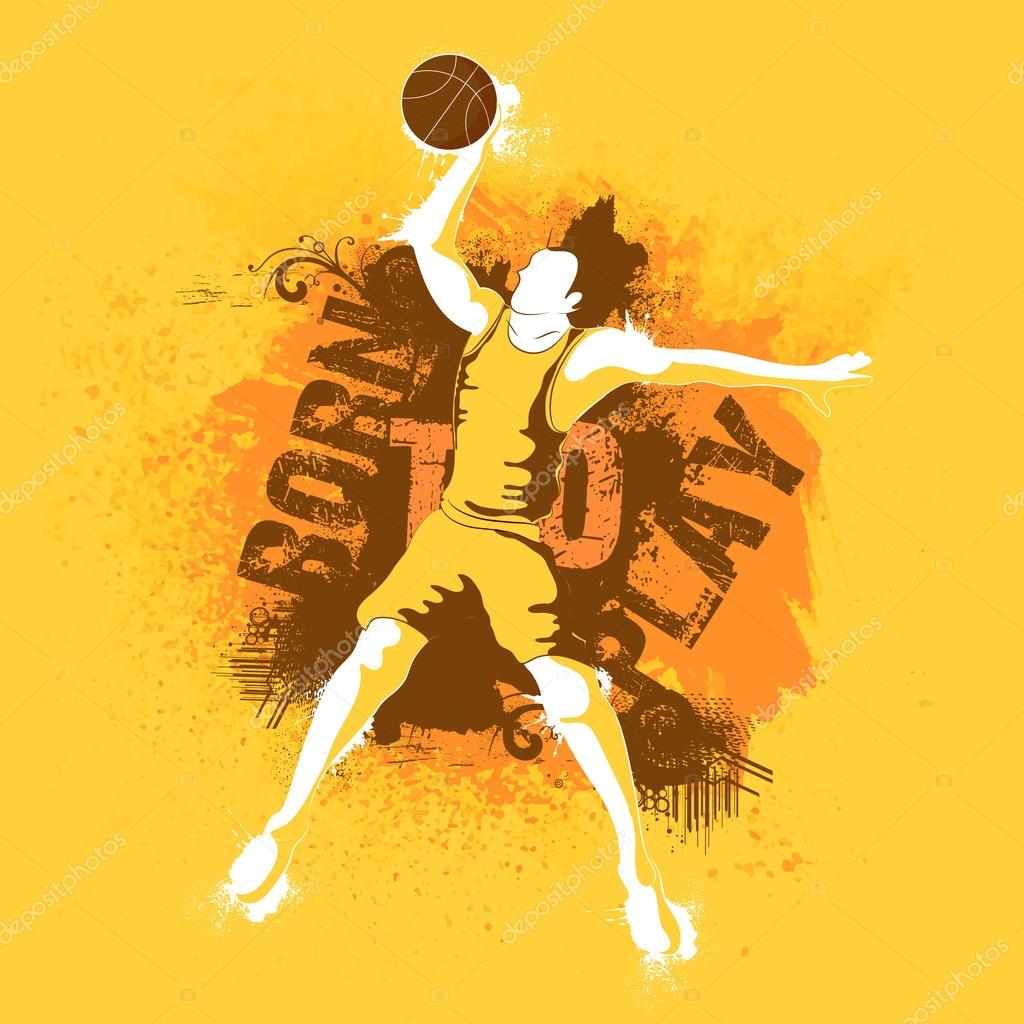 Creative Illustration Of A Basketball Player On Abstract Background, Can Be  Used As Poster, Banner Or Flyer Design For Sports Concept.
