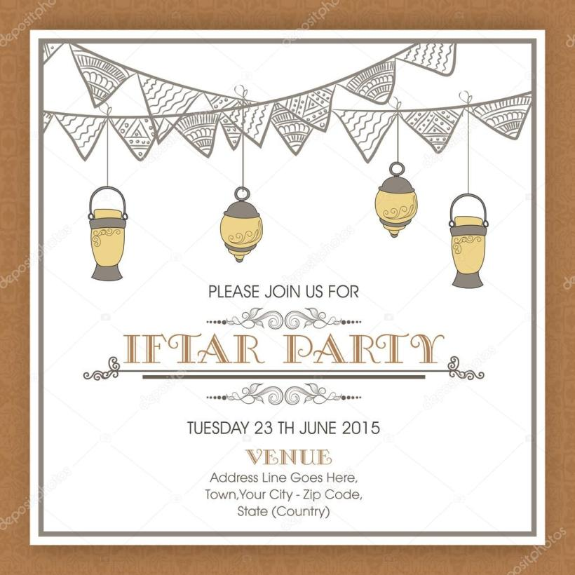 Arabic Lanterns And Fl Bunting Decorated Invitation Card Design For Ic Holy Month Ramadan Kareem Iftar Party Celebration