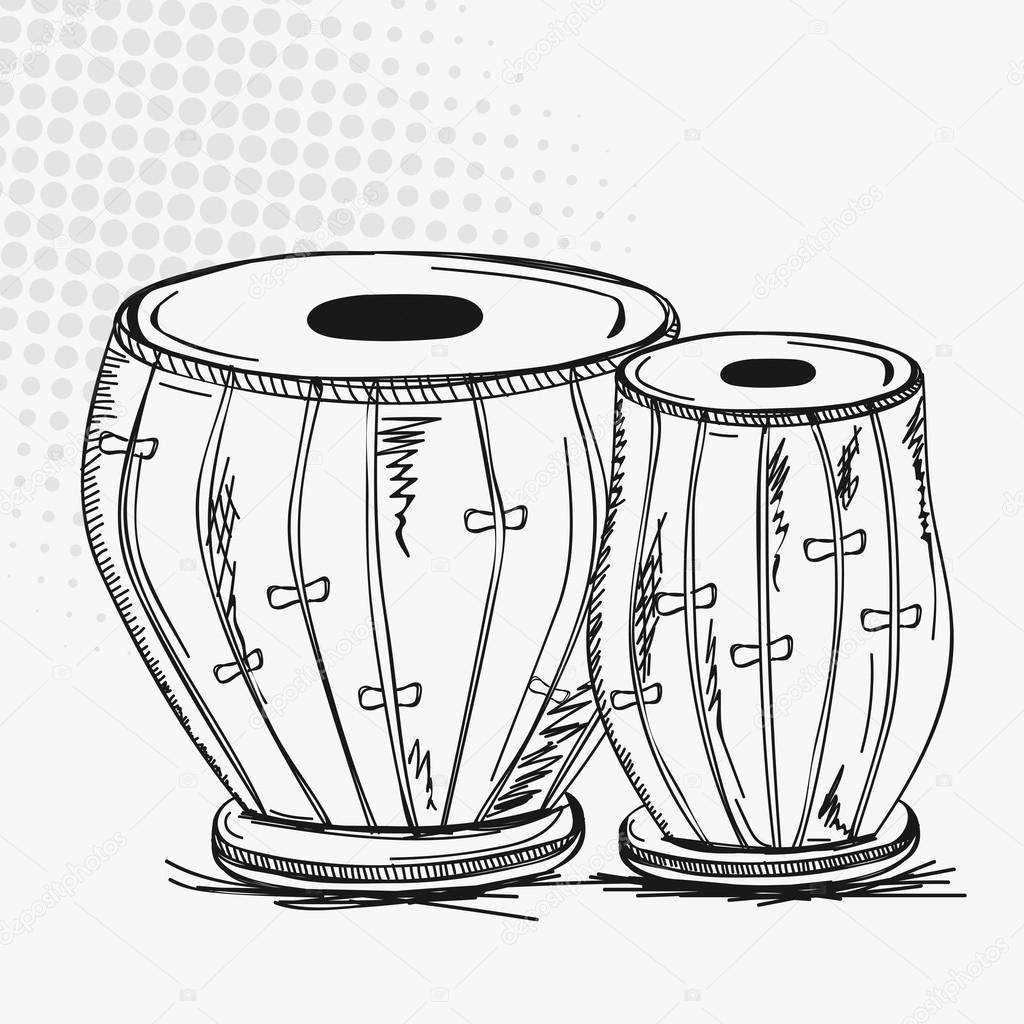 Indian musical instrument tabla. — Stock Vector