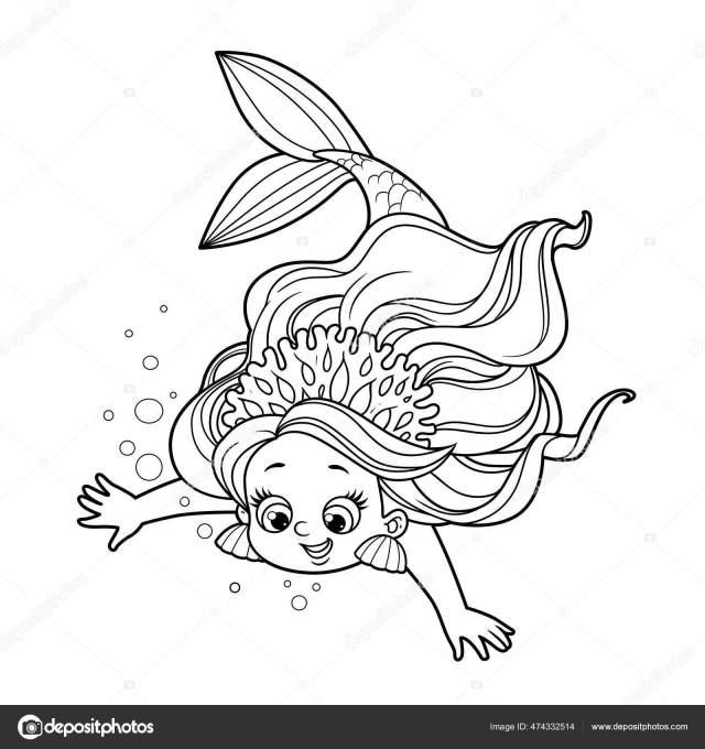 Petite Fille Sirène Mignonne Corail Tiare Plonge Vers Bas Esquissé