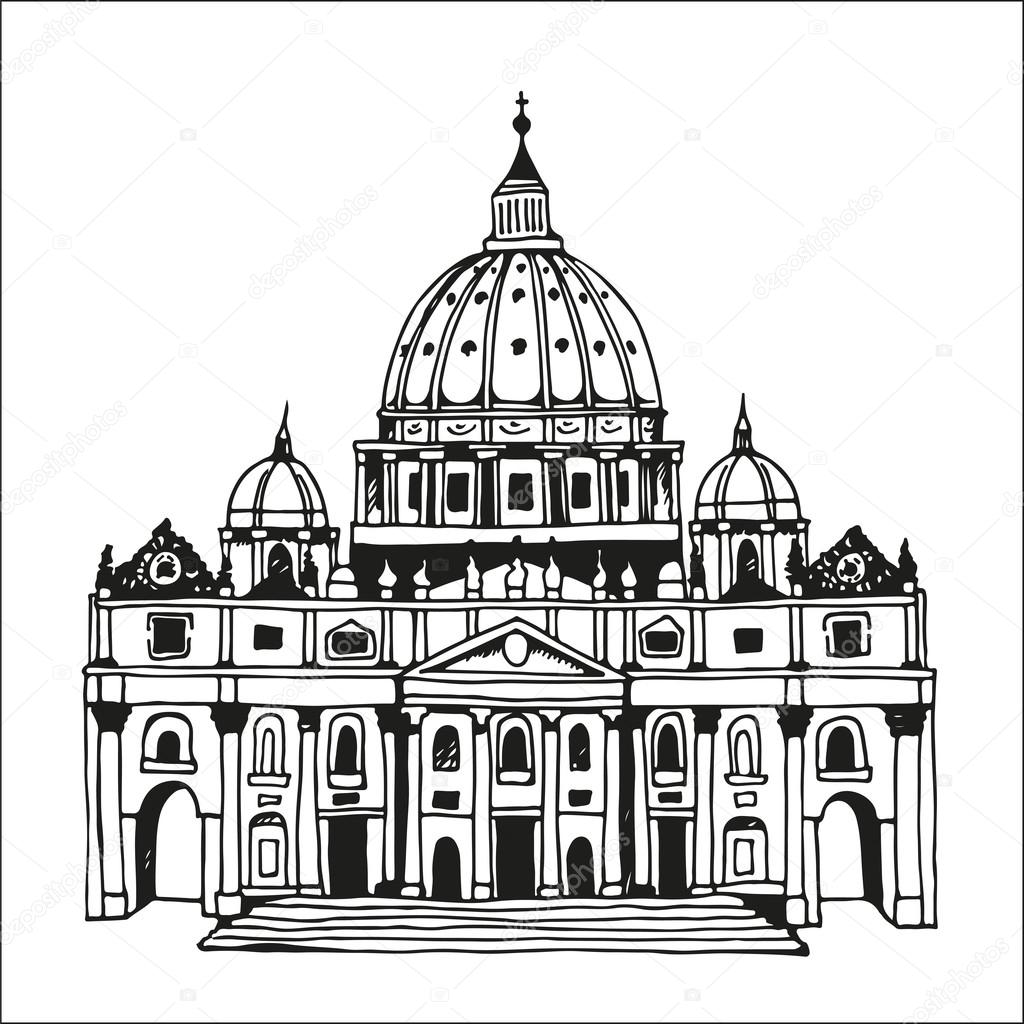Hand Drawn St Peter S Basilica Vatican Rome Italy