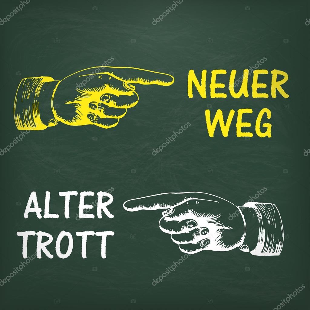 hight resolution of  new way and old way in german ilustraci n de stock