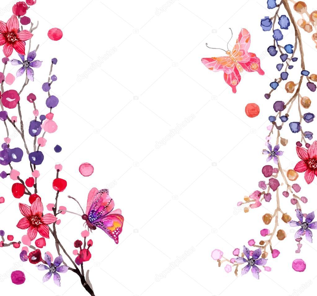 Cute Designs Printer Page Wallpapers Aquarel Bloemen Achtergrond Stockvector 169 Vasilek 70879543