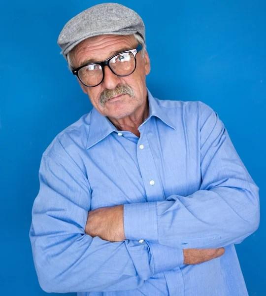 戴眼鏡的老男人的臉肖像 — 圖庫照片©zurijeta#1769088