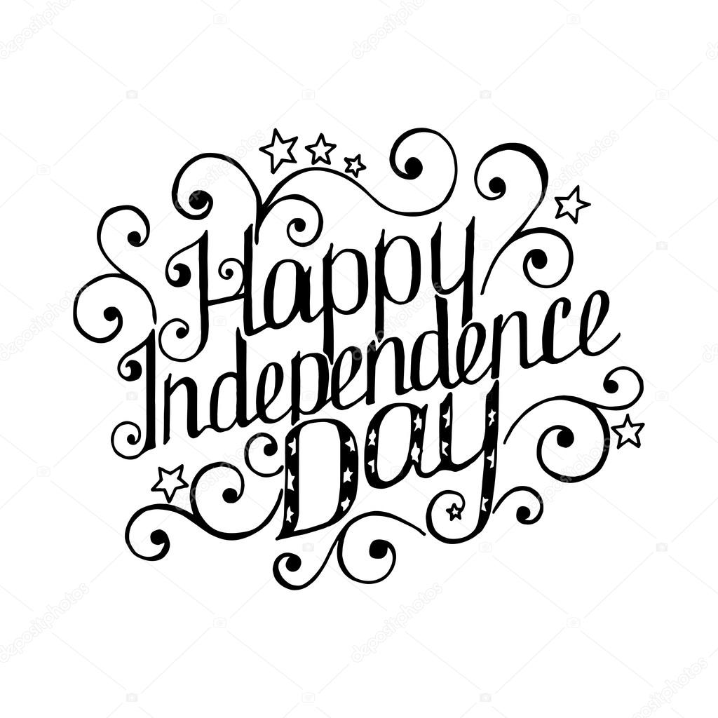 Happy Independence Day lettering — Stock Vector © OlleVita