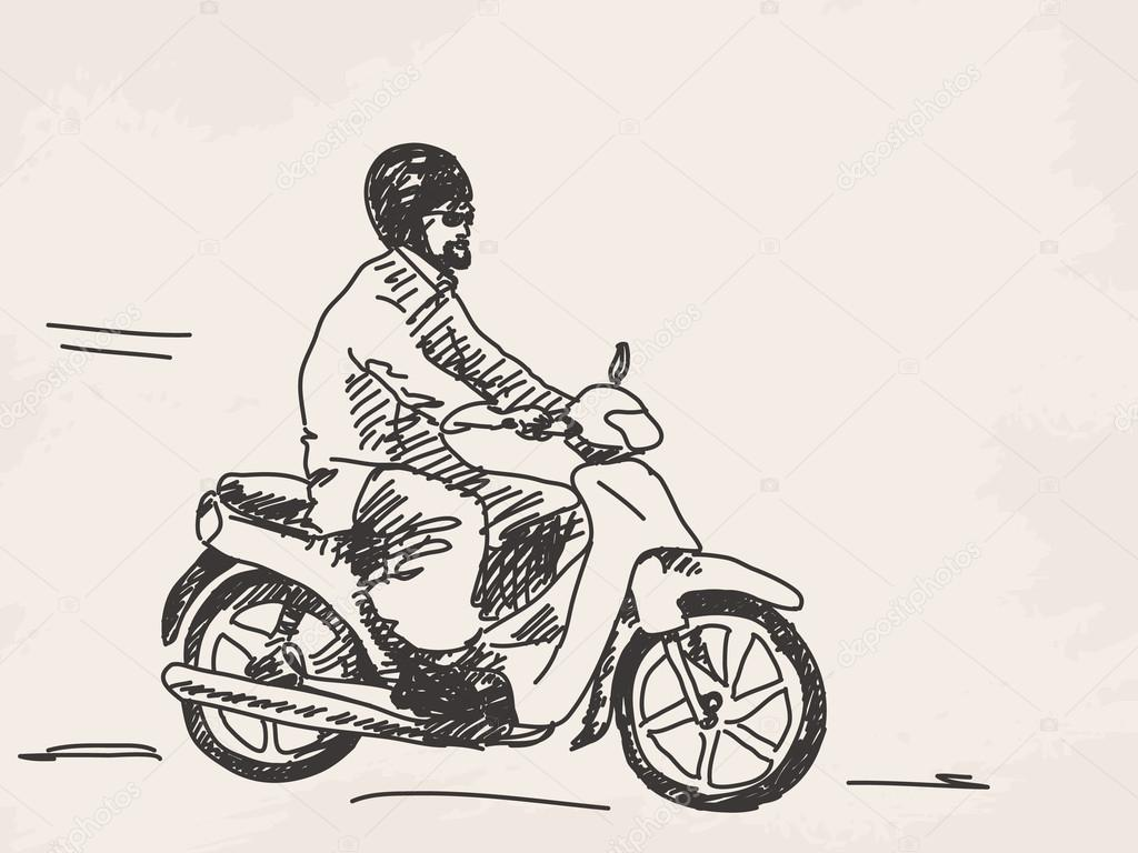 Sketch of man riding scooter — Stock Vector