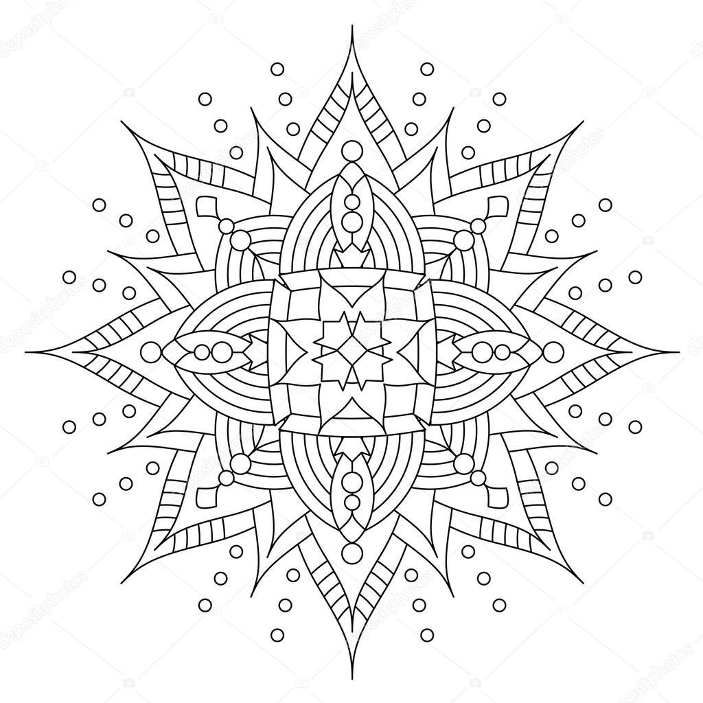 Mandala Or Whimsical Snowflake Line Art Design