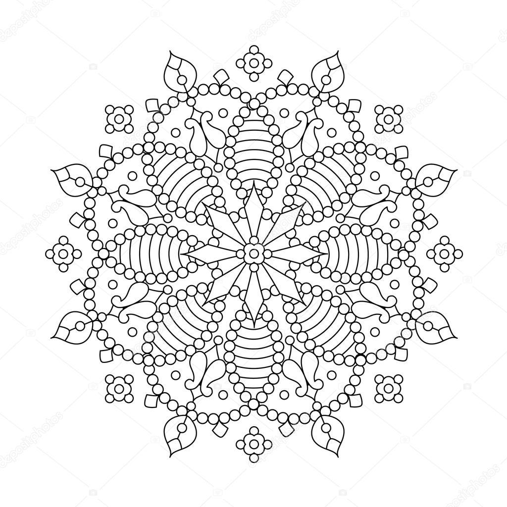 Drawings Snowflake Mandala Coloring Pages