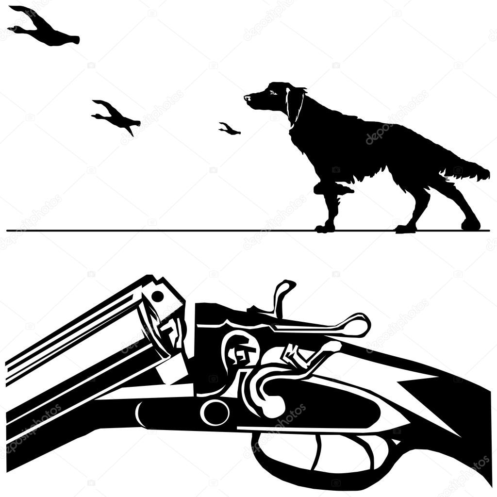 Caca Rifle Cao Pato Branco Preto Silhueta Fundo Vector