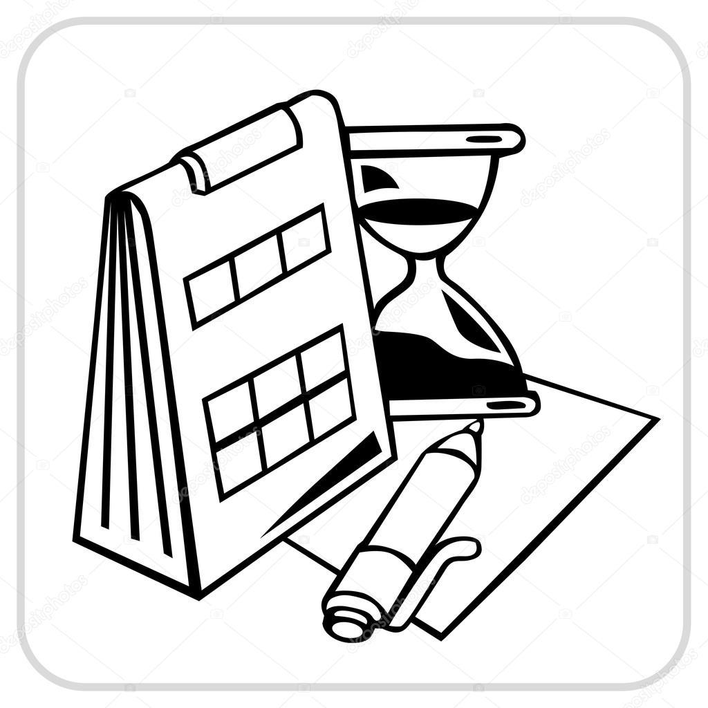Kalender Stift Papier Und Sanduhr
