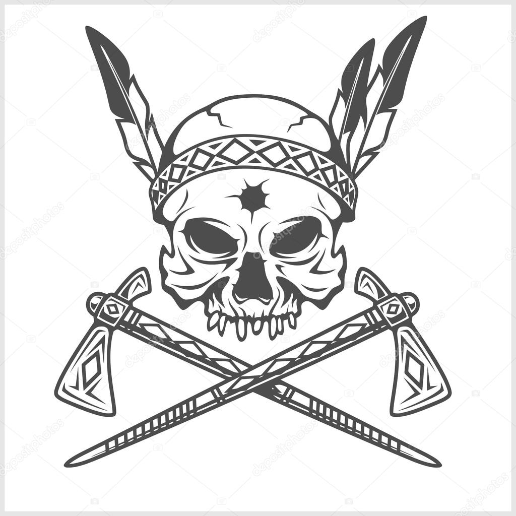 hight resolution of american indian chief skull with tomahawk isolated in white vector by digital clipart