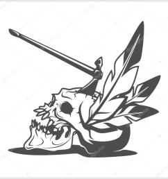 american indian chief skull with tomahawk isolated in white vector by digital clipart [ 1024 x 1024 Pixel ]