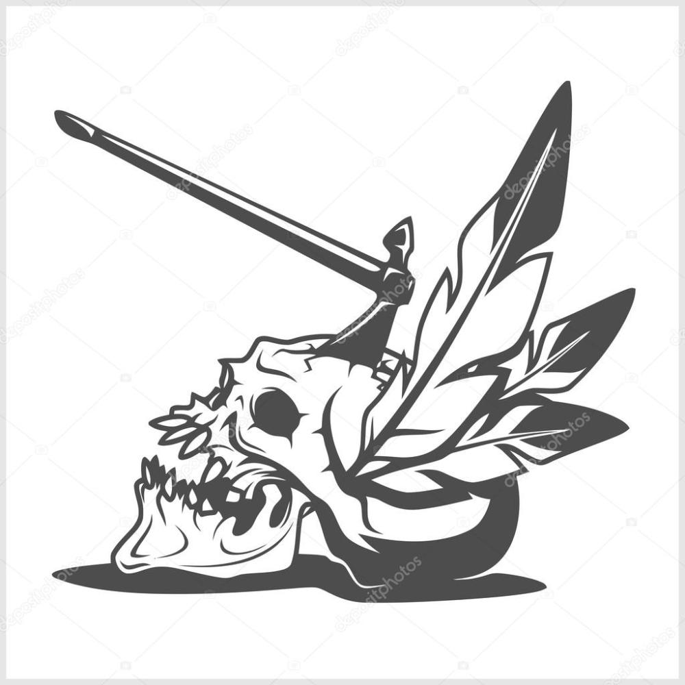 medium resolution of american indian chief skull with tomahawk isolated in white vector by digital clipart