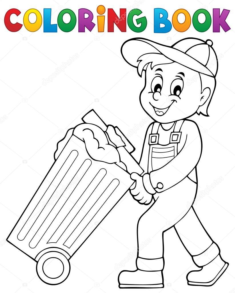 Tema de recolector de basura de libro para colorear 1