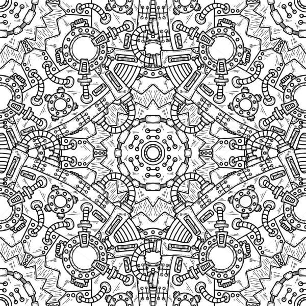 Steampunk Vector Seamless Pattern With Technical Elements