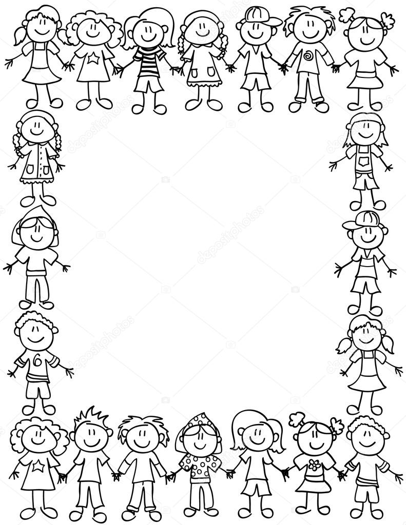Kids friendship border-outline — Stock Vector © Mirage3