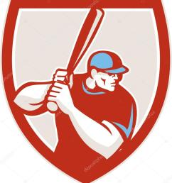 baseball player batter hitter shield retro stock vector [ 924 x 1024 Pixel ]