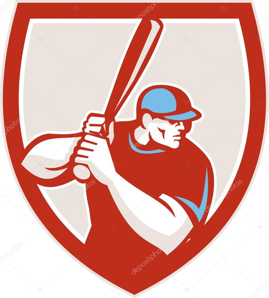 medium resolution of baseball player batter hitter shield retro stock vector