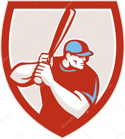 small resolution of baseball player batter hitter shield retro stock vector