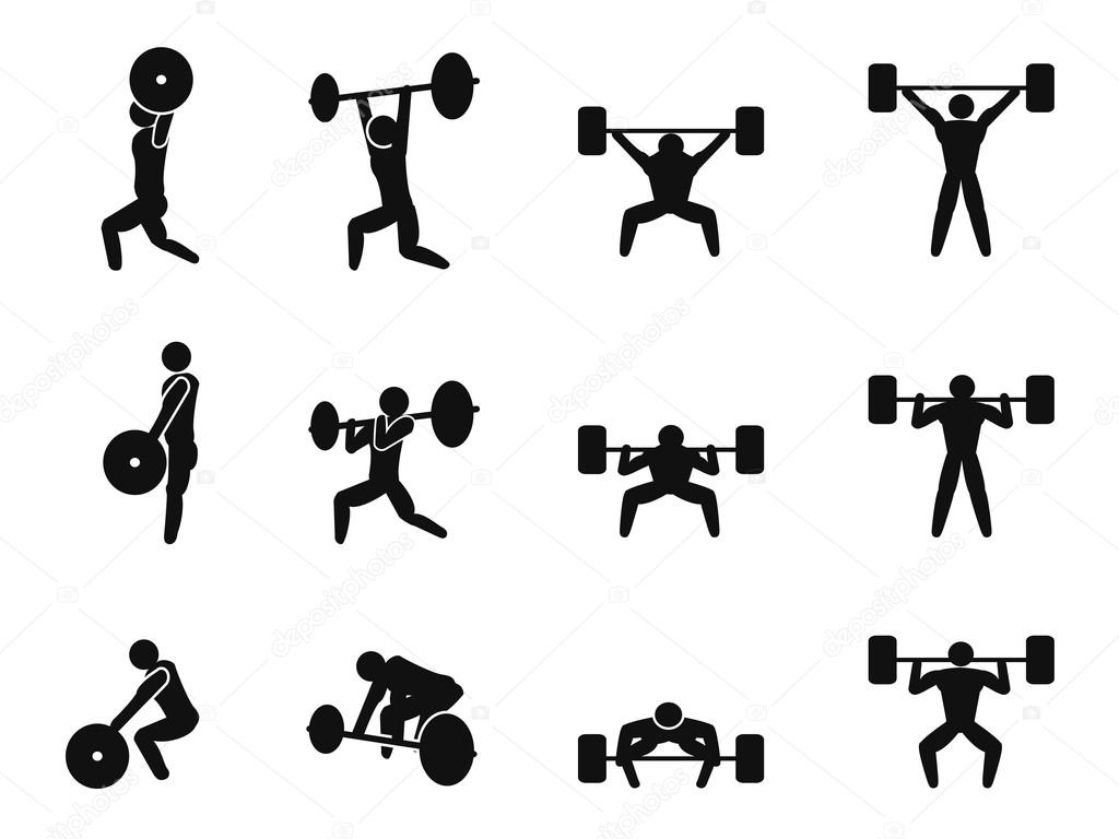 Weightlifting Icons Set