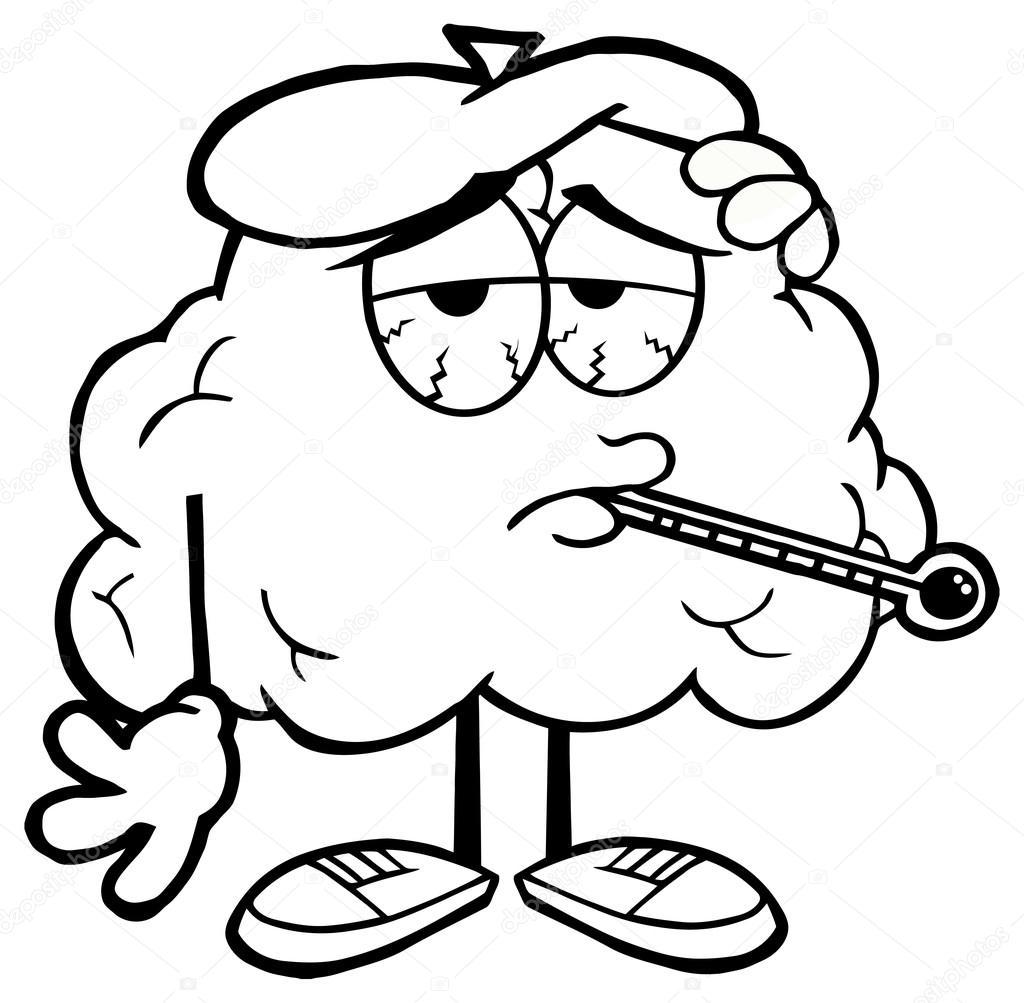 Personagem De Desenho Animado Do Cerebro Com Termometro