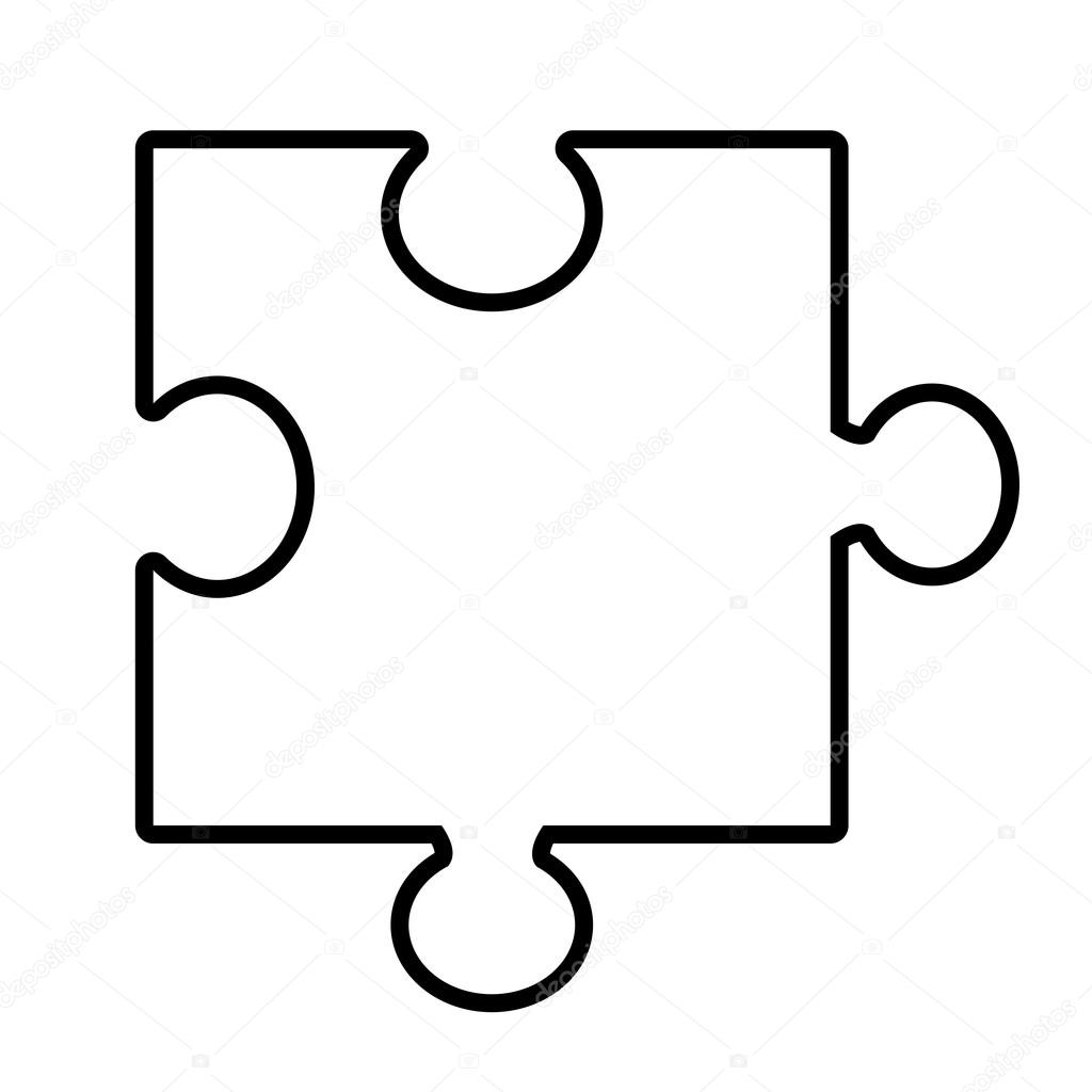 Isolated Puzzle Piece Vector Graphic
