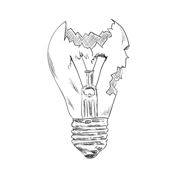 Lamp Bulb Hand Draw Sketch. Vector — Stock Vector