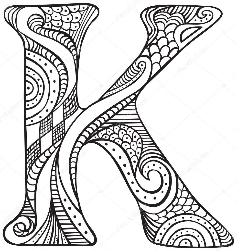 Ilustrowane litera K — Grafika wektorowa © nahhan #107263314