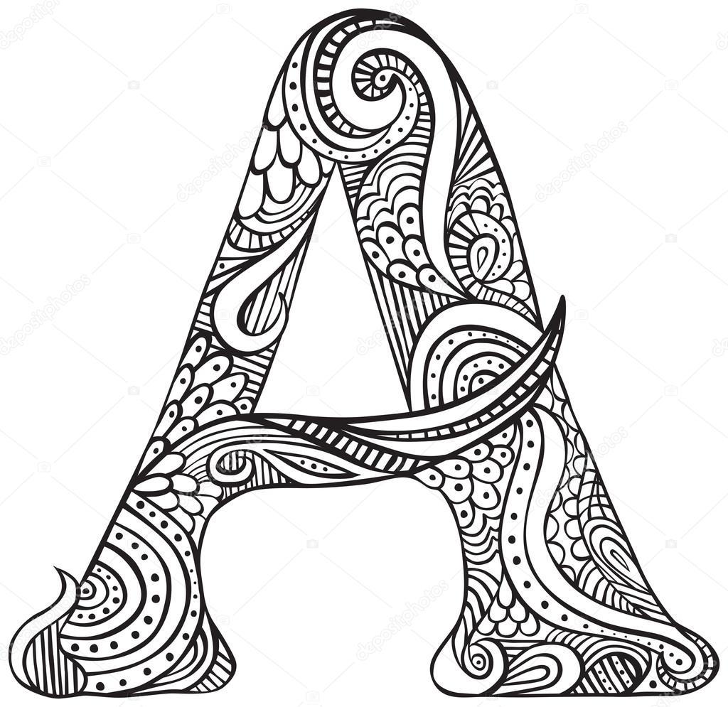 Letra ilustrada A — Vetor de Stock © nahhan #97430620