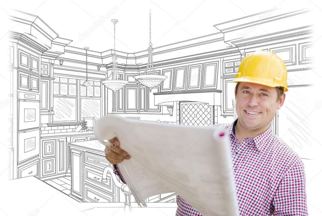 kitchen contractors lace curtains 承包商蓝图缓缴自定义厨房绘图 图库照片 c feverpitch 97714488