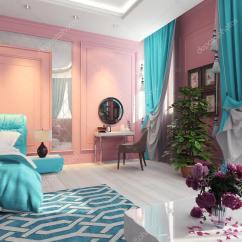 Pink Panton Chair Strongback Chairs Canada Wnętrze Sypialni Z Zasłony Turkusowe  Zdjęcie Stockowe