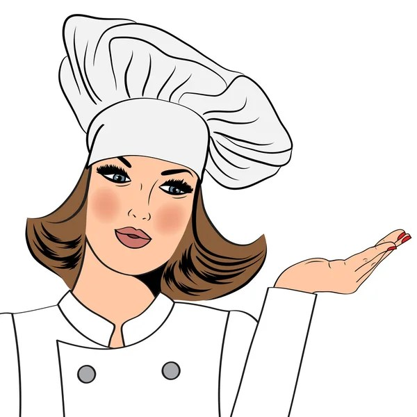 chef woman cartoon stock