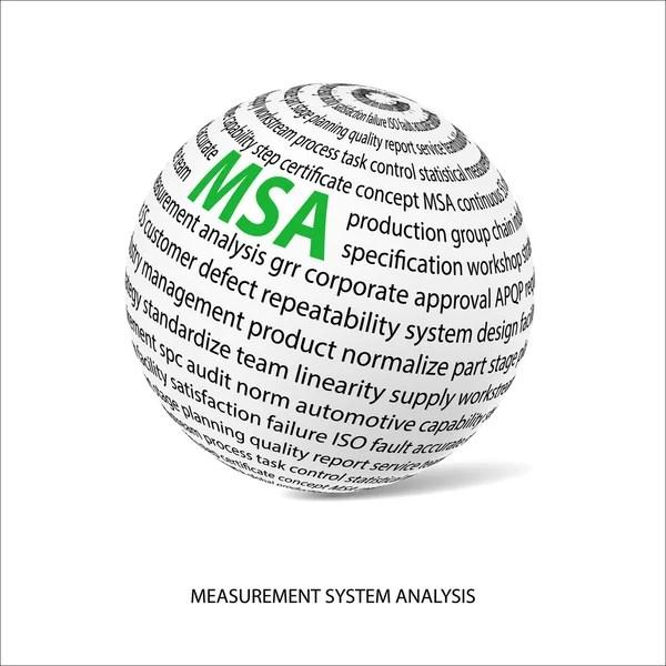 Measurement system analysis word ball (MSA) — Stock Vector