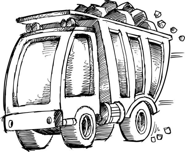 Dump Truck Vector Sketch Doodle — Stock Vector