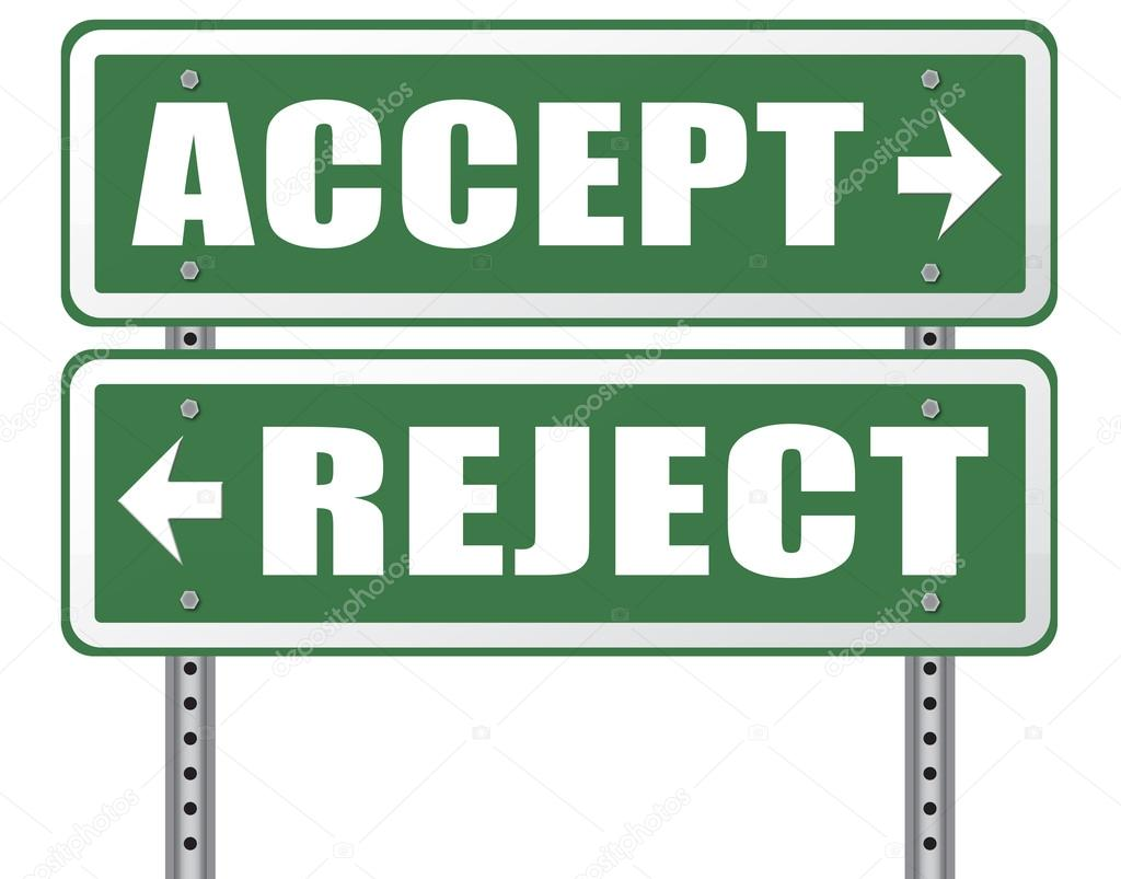 Accept Or Reject Arrow Sign